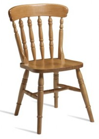 Farmhouse side chair in light oak finish