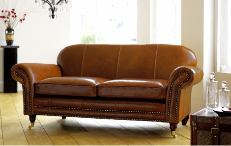 Contract Sofa in brown leather