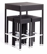 Outdoor Poseur Table with Bar Stools